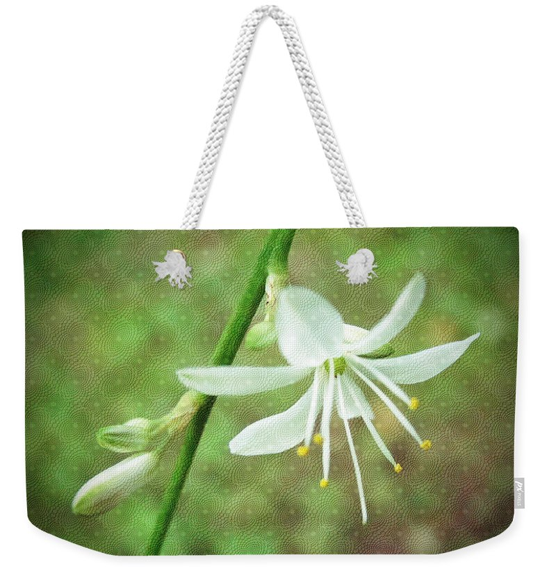 Floral Weekender Tote Bag featuring the photograph Spider Plant Flower - Chlorophytum Comosum by Mother Nature
