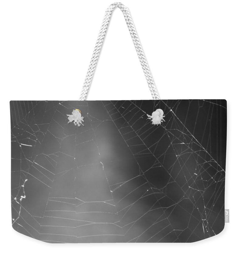 Black And White Weekender Tote Bag featuring the photograph Spiderweb Dos by Michele Nelson