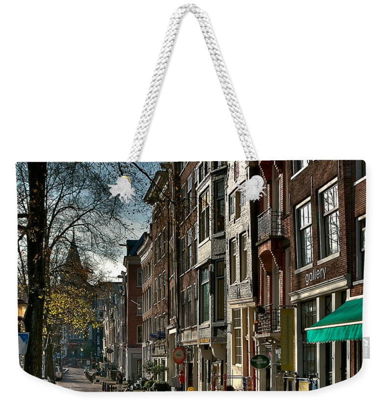 Holland Amsterdam Weekender Tote Bag featuring the photograph Spiegelgracht Gallery. Amsterdam by Juan Carlos Ferro Duque