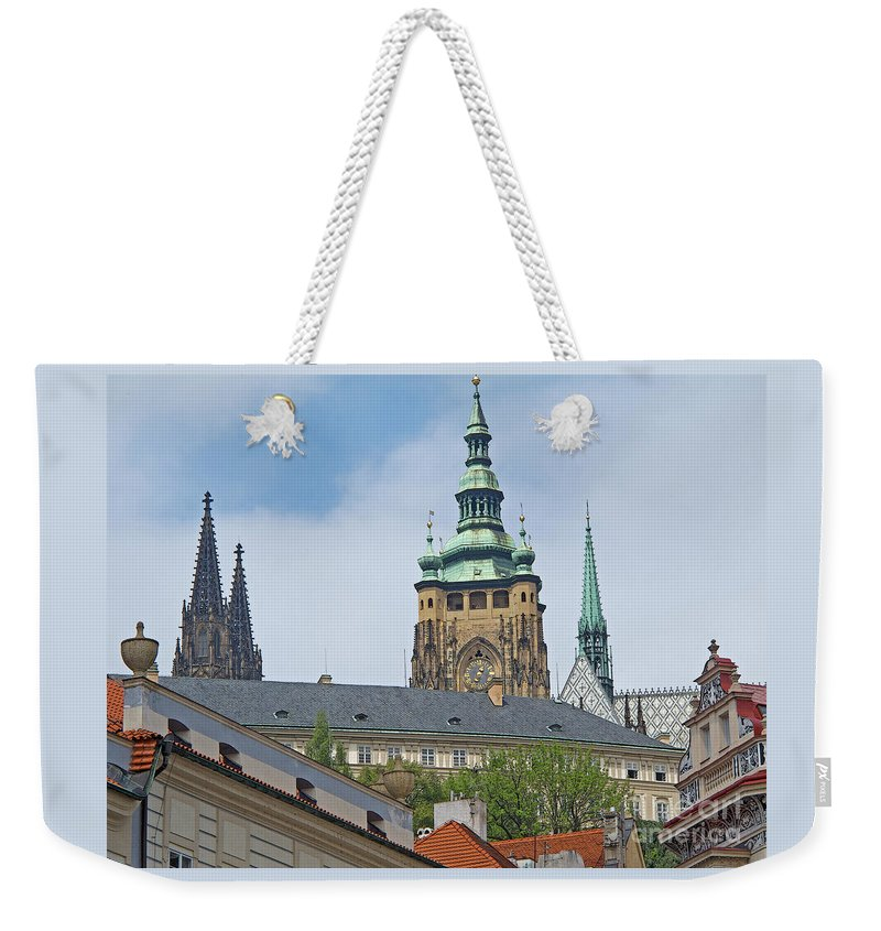 Prague Weekender Tote Bag featuring the photograph Spires Of St. Vitus by Ann Horn
