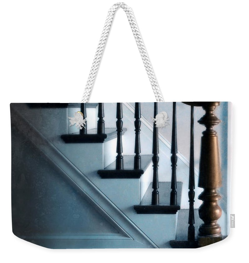 Cat Weekender Tote Bag featuring the photograph Spooked Cat By Stairs by Jill Battaglia