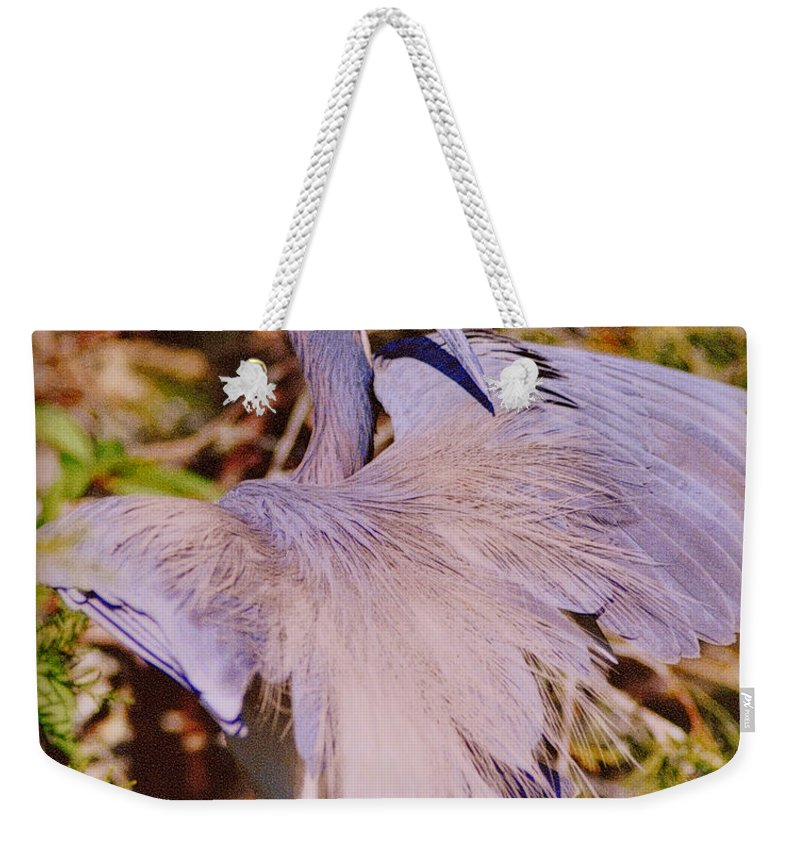 Blue Heron Weekender Tote Bag featuring the photograph Spread Out by Lydia Holly