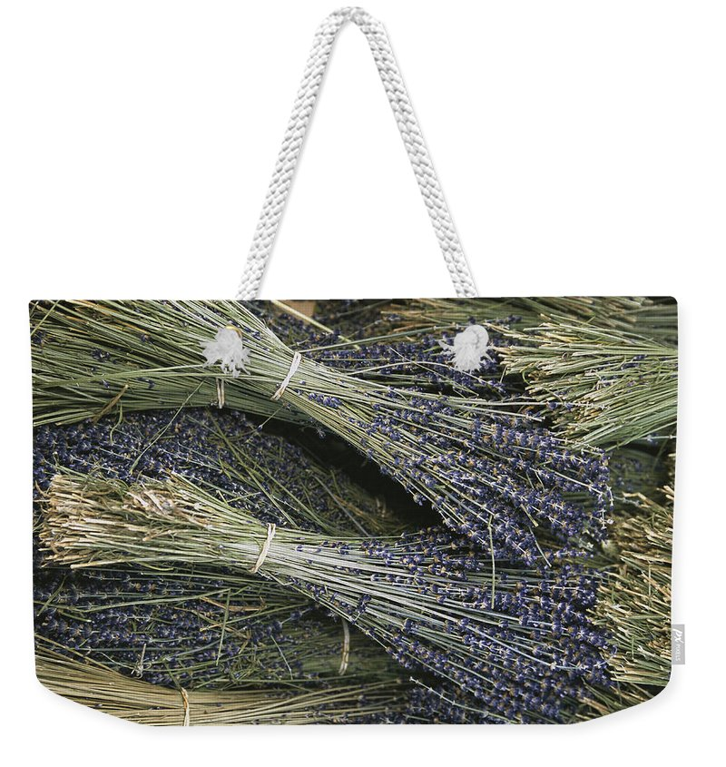 Plants Weekender Tote Bag featuring the photograph Sprigs Of Lavender, Provence Region by Nicole Duplaix