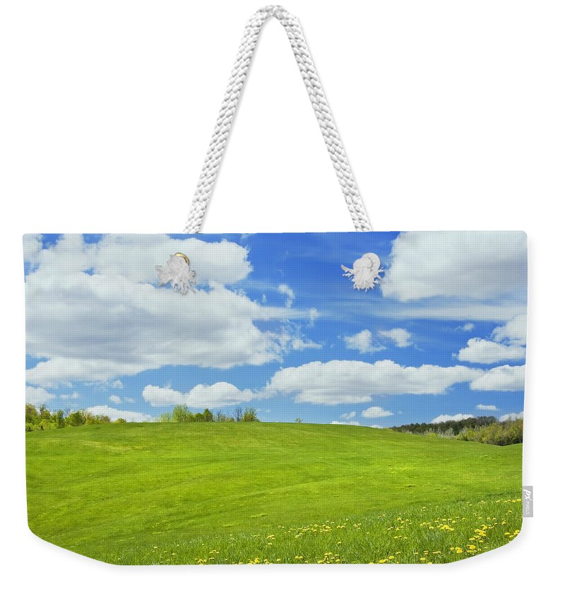 Spring Weekender Tote Bag featuring the photograph Spring Farm Landscape With Blue Sky In Maine by Keith Webber Jr