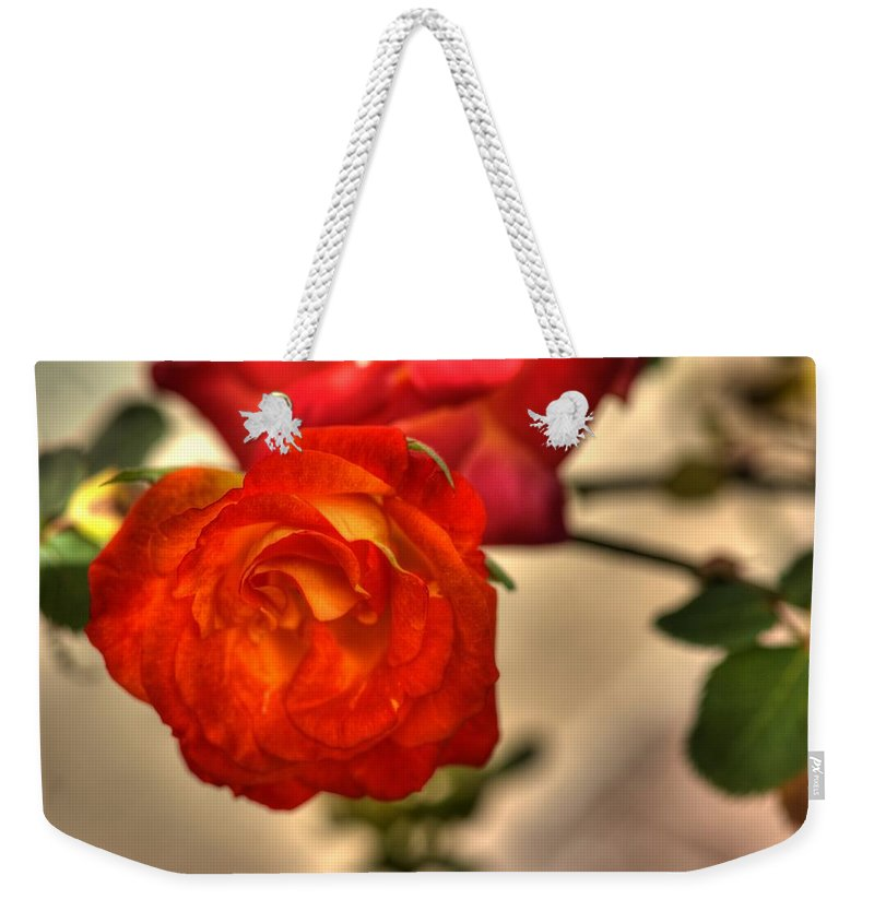 Rose Weekender Tote Bag featuring the photograph Spring Rose by Barry Jones