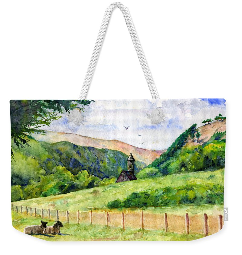Ireland Weekender Tote Bag featuring the painting St. Kevin's And Wicklow Mountians by John D Benson