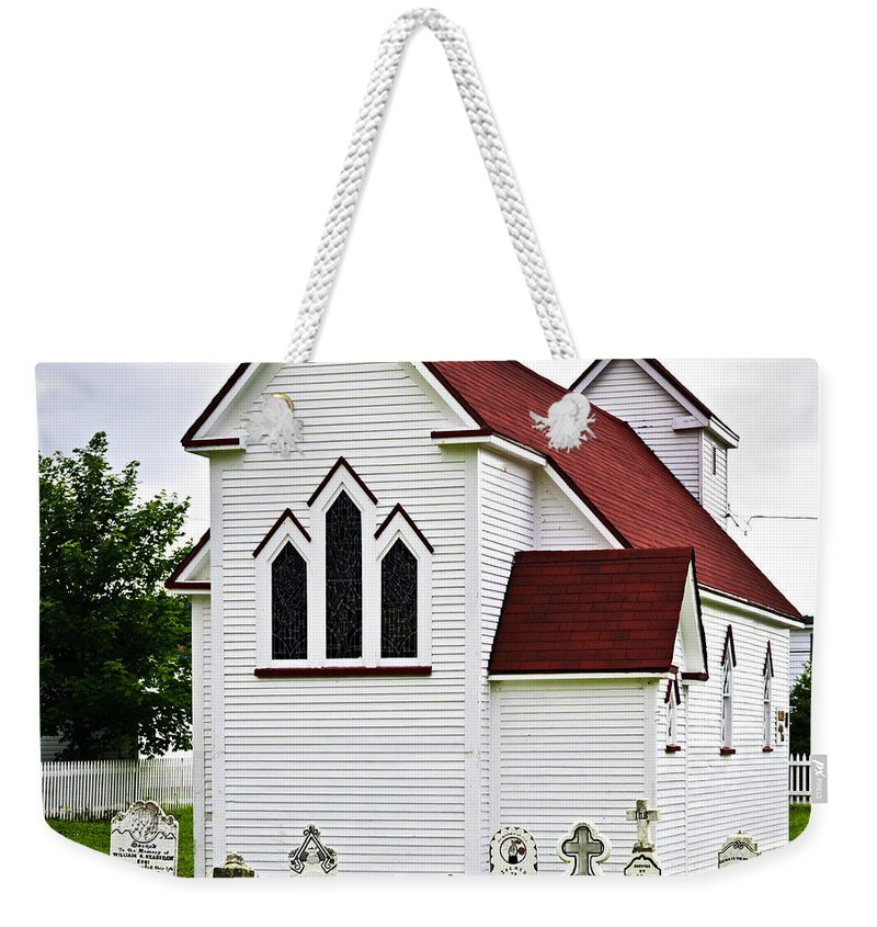 Placentia Weekender Tote Bag featuring the photograph St. Luke's Church And Cemetery In Placentia by Elena Elisseeva