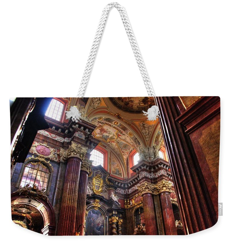 Posnan Weekender Tote Bag featuring the photograph St Stanislaus Parish Church by Jon Berghoff