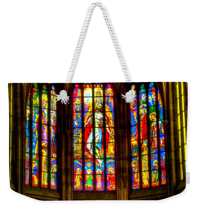 St Vitus Cathedral Weekender Tote Bag featuring the photograph St Vitus Main Altar Stained Glass by Jon Berghoff