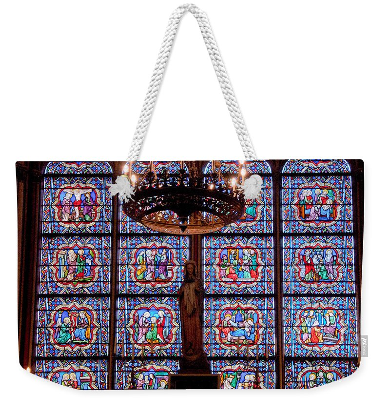 France Weekender Tote Bag featuring the photograph Stained Glass At Notre Dame Cathedral by Jon Berghoff