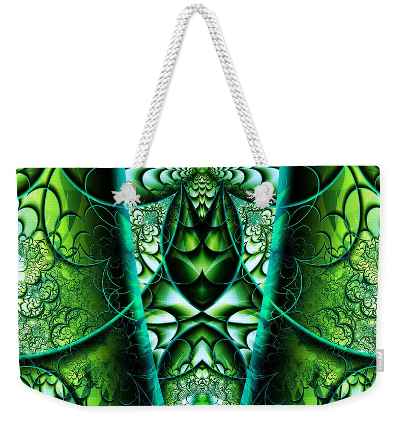 Stained Weekender Tote Bag featuring the digital art Stained Glass by Mariella Wassing