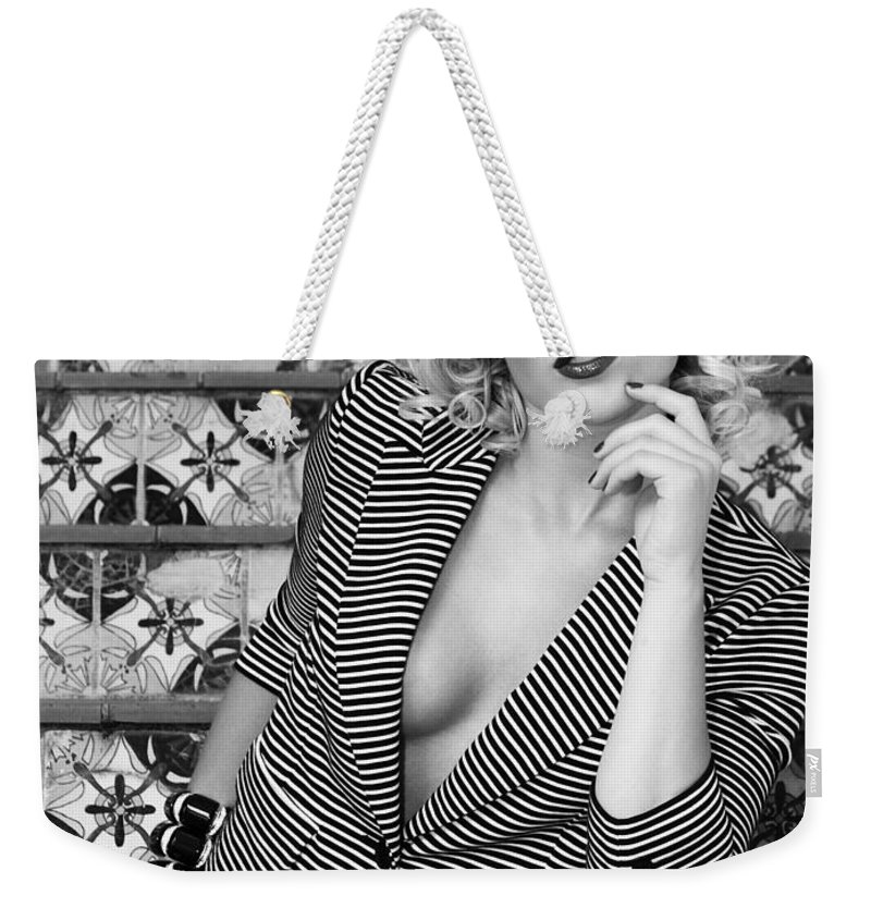 Blonde Weekender Tote Bag featuring the photograph Stairs And Stripes Bw by William Dey