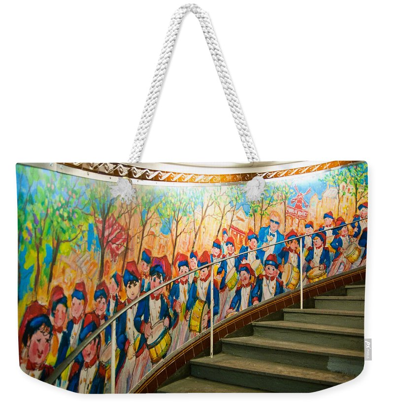 France Weekender Tote Bag featuring the photograph Stairway Mural At Montmartre Metro Exit by Jon Berghoff