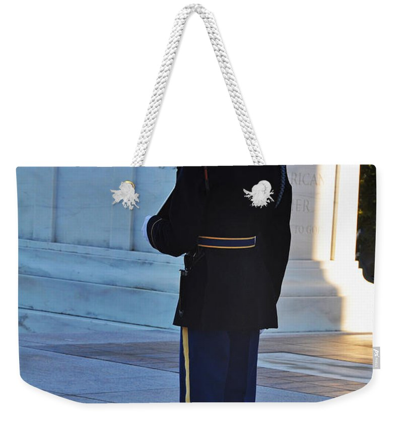 Tomb Of The Unknowns At Arlington National Cemetery Weekender Tote Bag featuring the photograph Standing Guard by Brittany Horton