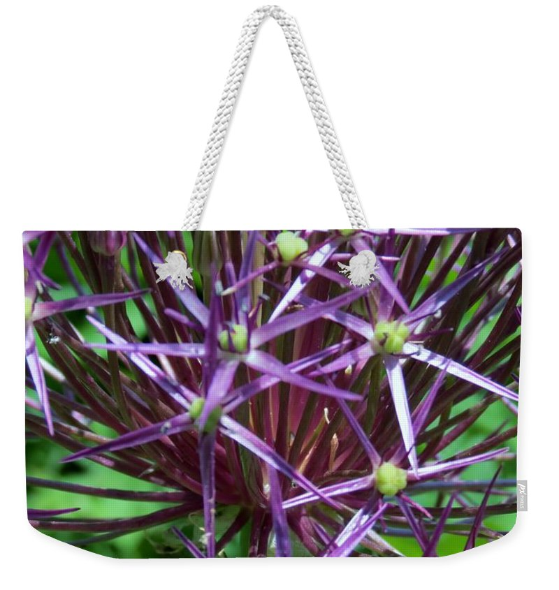 Star Weekender Tote Bag featuring the photograph Star Flowers by Art Dingo