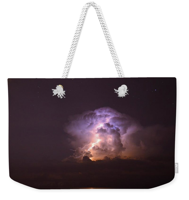 Lightning Weekender Tote Bag featuring the photograph Stars And Lightning by David Morefield