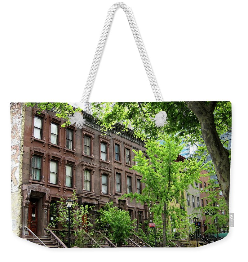 Manhattan Weekender Tote Bag featuring the photograph Stately Ny Street by Lorraine Devon Wilke