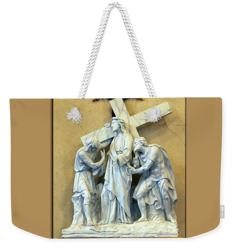 Statue Weekender Tote Bag featuring the digital art Station Of The Cross 02 by Thomas Woolworth
