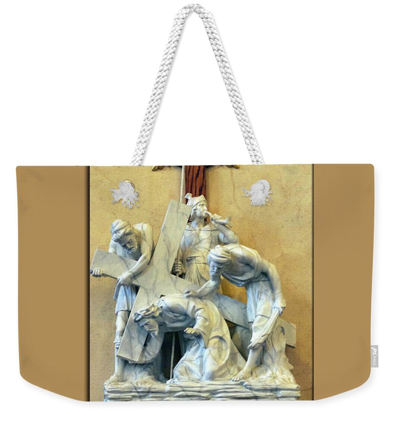 Statue Weekender Tote Bag featuring the photograph Station Of The Cross 03 by Thomas Woolworth