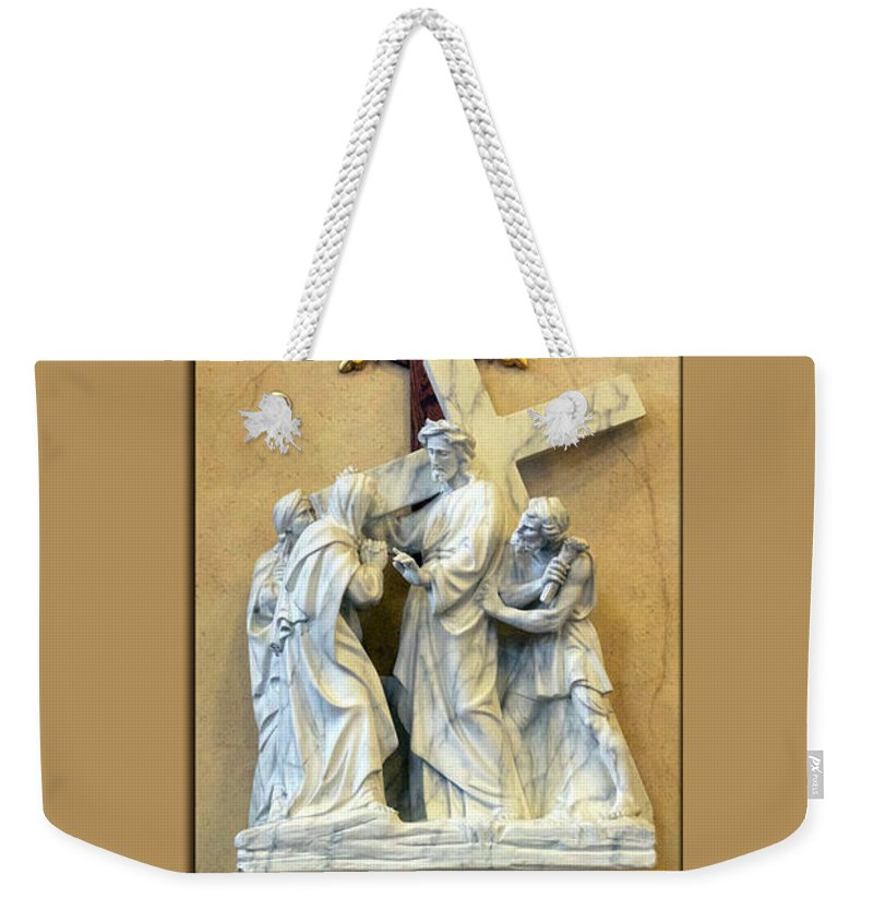 Statue Weekender Tote Bag featuring the photograph Station Of The Cross 04 by Thomas Woolworth