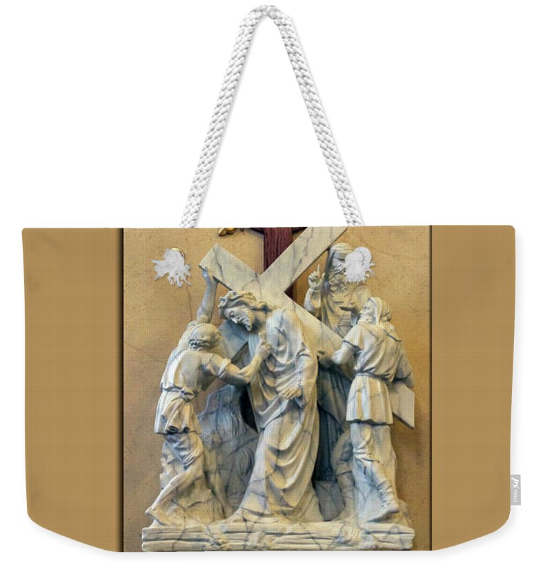 Statue Weekender Tote Bag featuring the photograph Station Of The Cross 05 by Thomas Woolworth