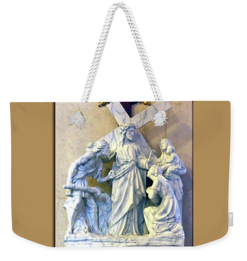 Statue Weekender Tote Bag featuring the photograph Station Of The Cross 08 by Thomas Woolworth