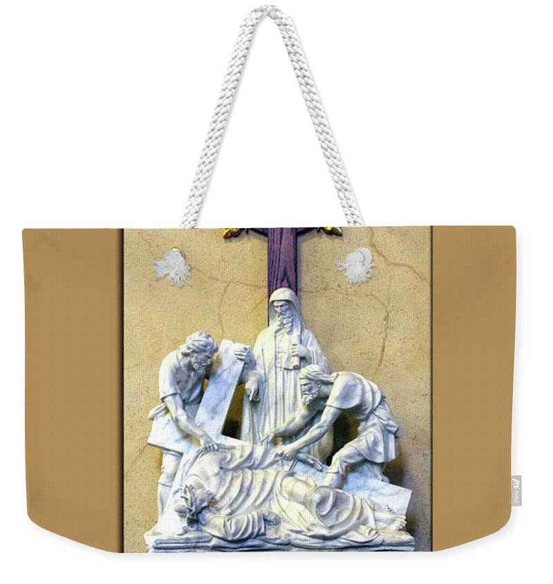 Statue Weekender Tote Bag featuring the photograph Station Of The Cross 09 by Thomas Woolworth