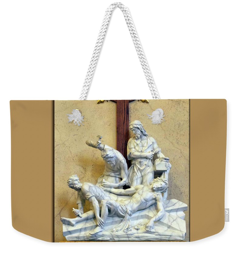 Statue Weekender Tote Bag featuring the photograph Station Of The Cross 11 by Thomas Woolworth
