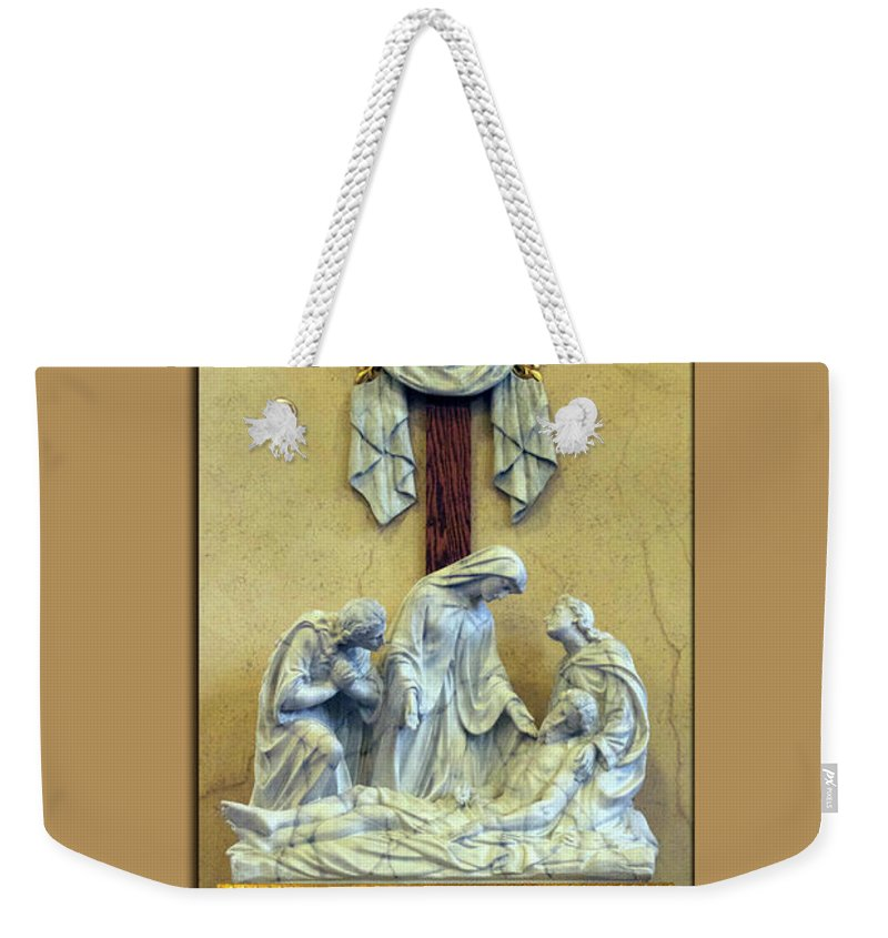 Statue Weekender Tote Bag featuring the photograph Station Of The Cross 13 by Thomas Woolworth