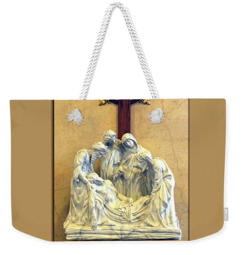 Statue Weekender Tote Bag featuring the photograph Station Of The Cross 14 by Thomas Woolworth