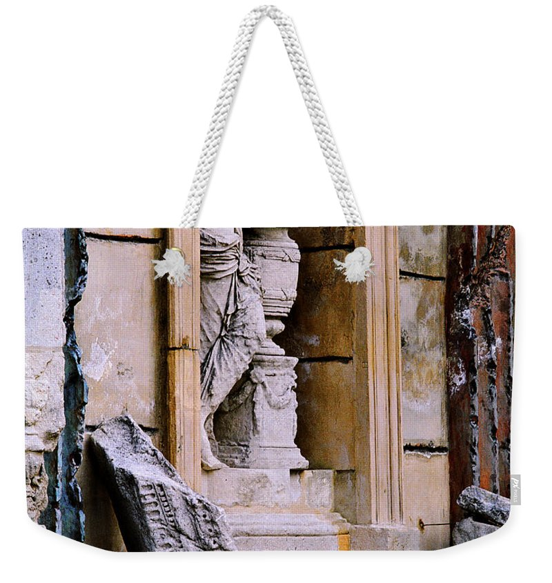 Architectural Weekender Tote Bag featuring the photograph Statue In A Niche by Greg Matchick