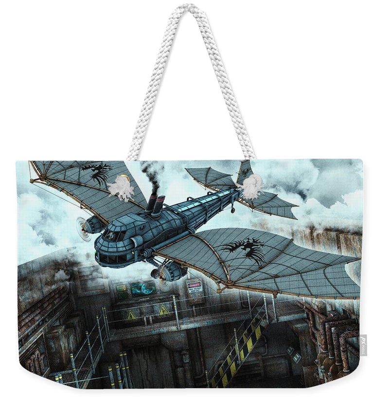 3d Weekender Tote Bag featuring the digital art Steam Dragon Crossing by Jutta Maria Pusl