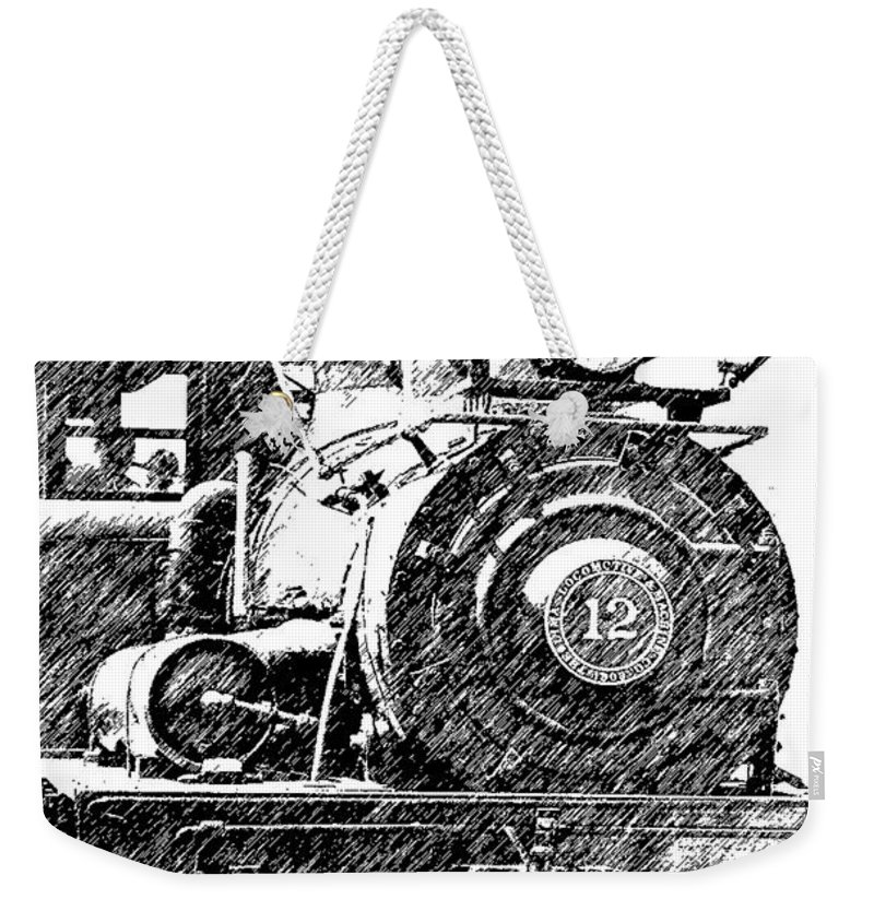 Trains Weekender Tote Bag featuring the photograph steam Engine pencil sketch by Randy Harris