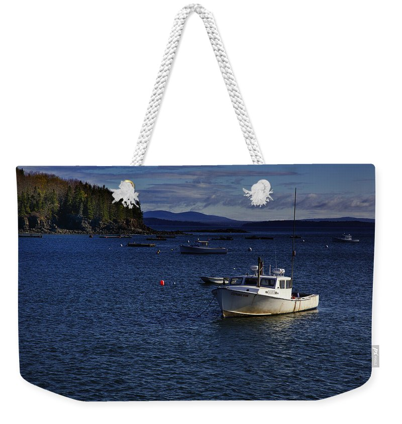 Lobster Boat Weekender Tote Bag featuring the photograph Stephanie Diane by Rick Berk