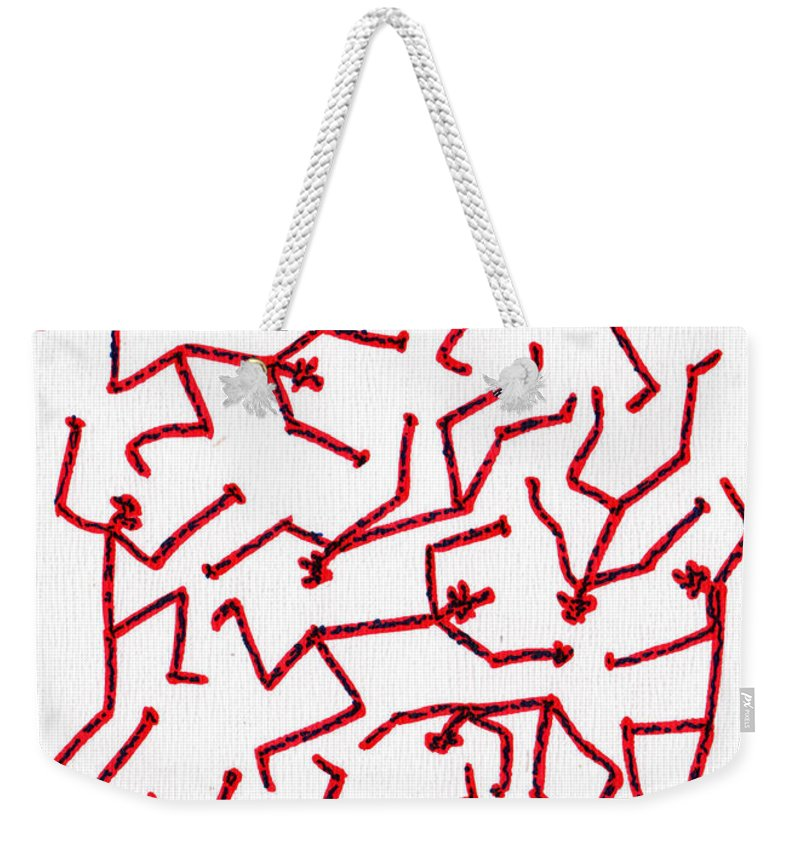 Abstract Weekender Tote Bag featuring the drawing Stickmen Characters Nine Eleven Two K Ten by Carl Deaville