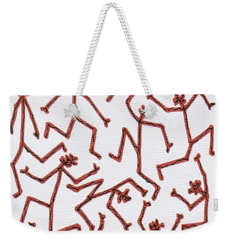 Abstract Weekender Tote Bag featuring the drawing Stickmen Characters Two Thousand Eleven by Carl Deaville