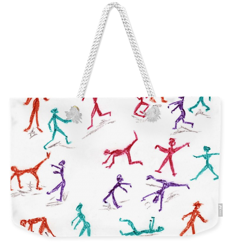 Stickmen Weekender Tote Bag featuring the drawing Stickmen October Two Thousand One by Carl Deaville