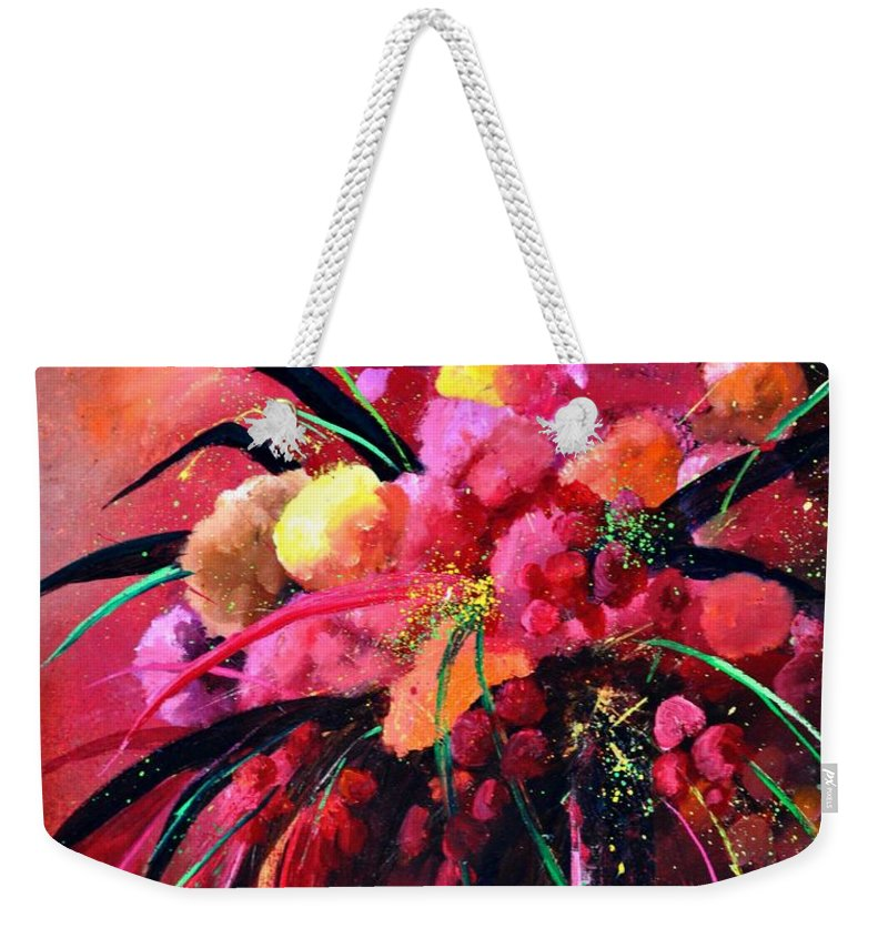 Flowers Weekender Tote Bag featuring the painting Still Life 0101 by Pol Ledent