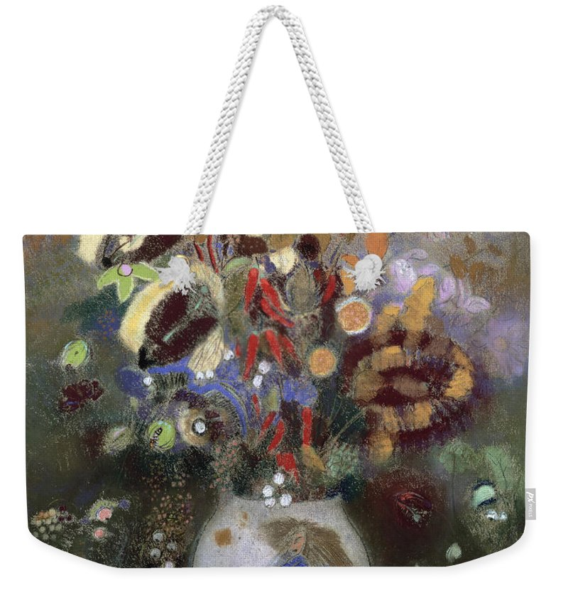 Oriental; Symbolist; Vase Au Guerrier Japonais Weekender Tote Bag featuring the painting Still Life Of A Vase Of Flowers by Odilon Redon