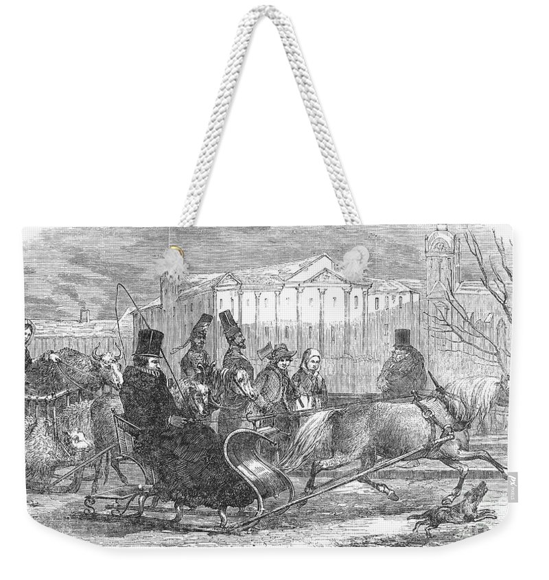 1850 Weekender Tote Bag featuring the photograph Stockholm: Sleighing, 1850 by Granger