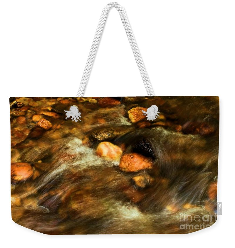 Stone Mountain State Park Weekender Tote Bag featuring the photograph Stone Mountain River Rocks by Adam Jewell