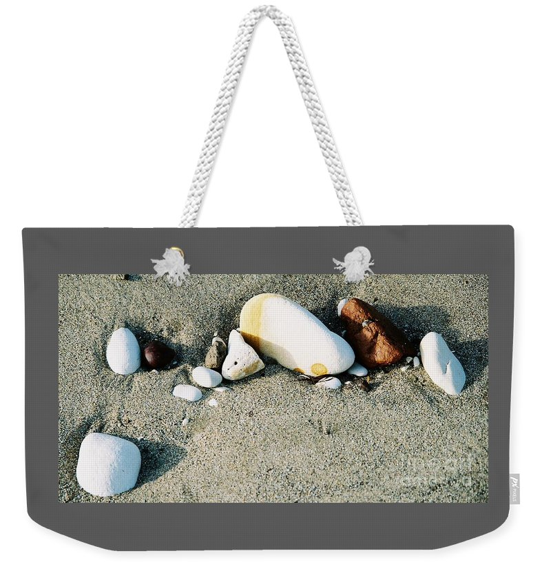 Beach Art Still Life Feng Shui Outdoors Meditation Beach Stones Stock Shot Yorkshire Travel Nature In Situ Minimalism Metal Frame Suggested Canvas Print Poster Print Wood Print Available On Greeting Cards Get Well Cards Pouches Mugs Phone Cases Tote Bags Throw Pillows T Shirts Duvet Covers Weekender Tote Bags And Shower Curtains Weekender Tote Bag featuring the photograph Stones On The Beach by Marcus Dagan