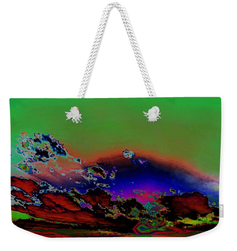 Skyscape Weekender Tote Bag featuring the digital art Storm Clouds Rising Photoart II by Debbie Portwood