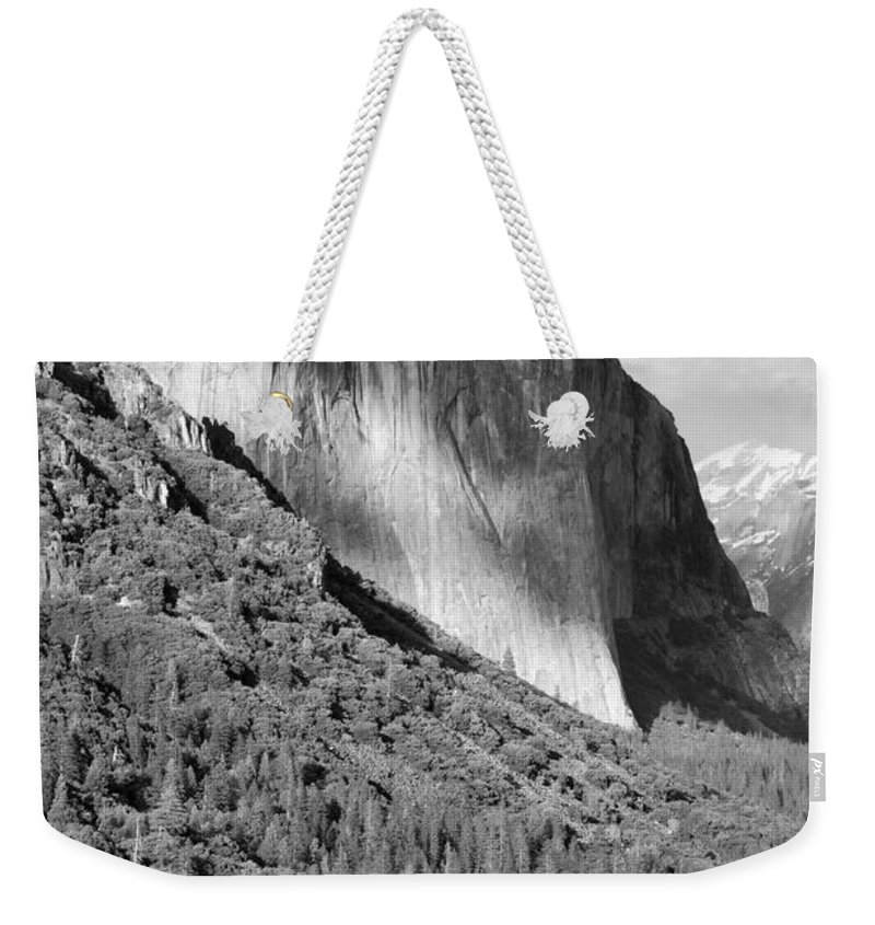 Black&white Weekender Tote Bag featuring the photograph Storm Over El Capitan by Sandra Bronstein