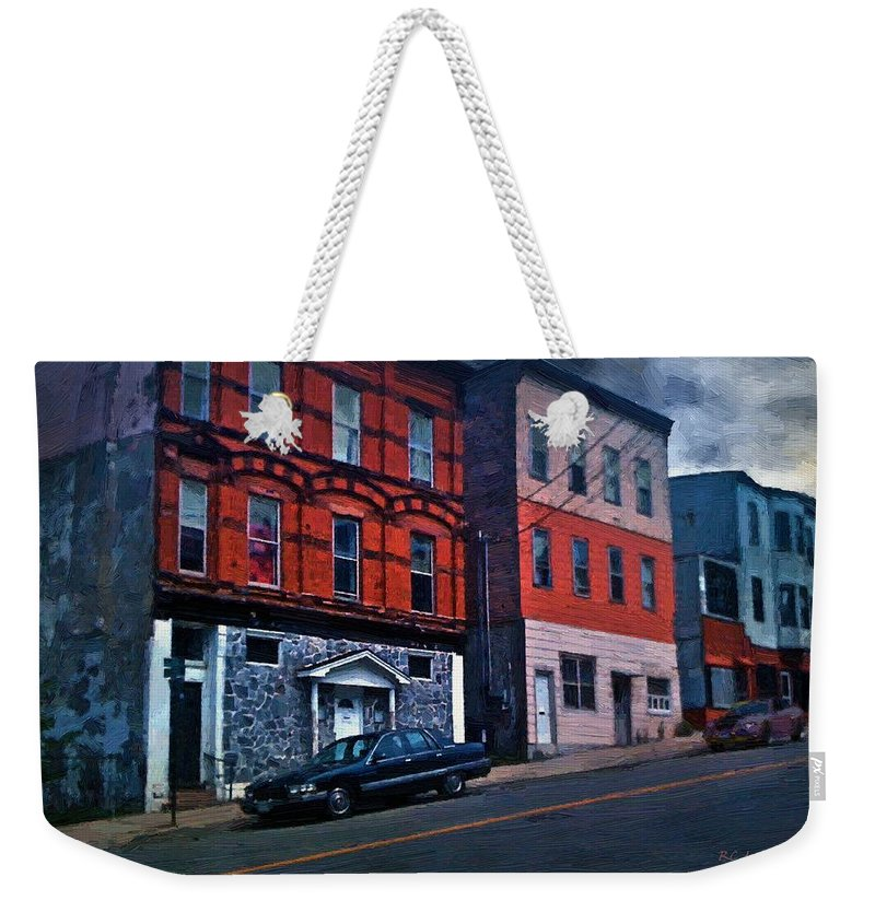 Landscape Weekender Tote Bag featuring the painting Stormy Monday by RC DeWinter
