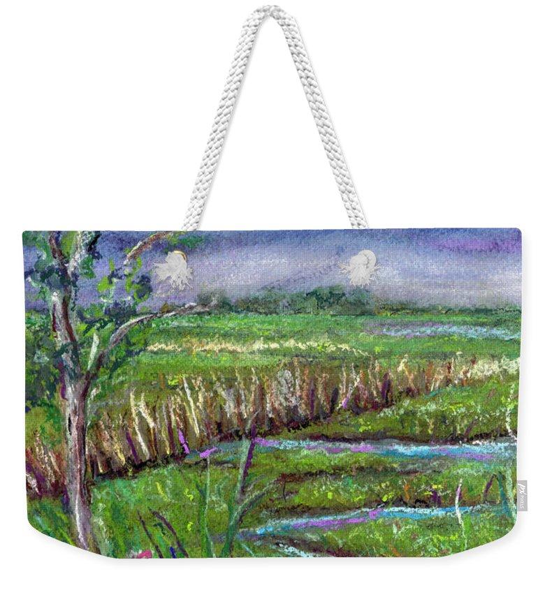 Pastel Weekender Tote Bag featuring the painting Stormy Wetlands by Clara Sue Beym