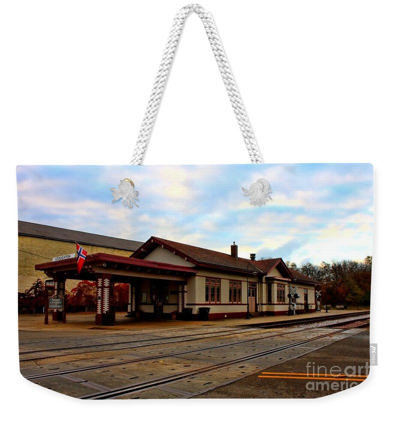Railroad Weekender Tote Bag featuring the photograph Stoughton Depot by Tommy Anderson