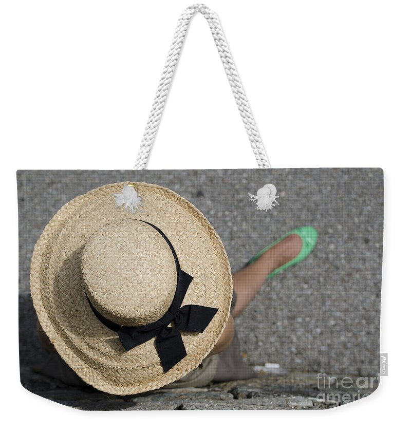 Woman Weekender Tote Bag featuring the photograph Straw Hat And Green Shoes by Mats Silvan