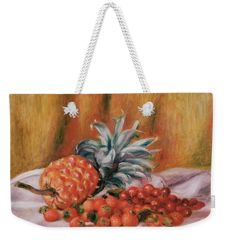 Strawberries Weekender Tote Bag featuring the painting Strawberries And Pineapple by Pierre Auguste Renoir