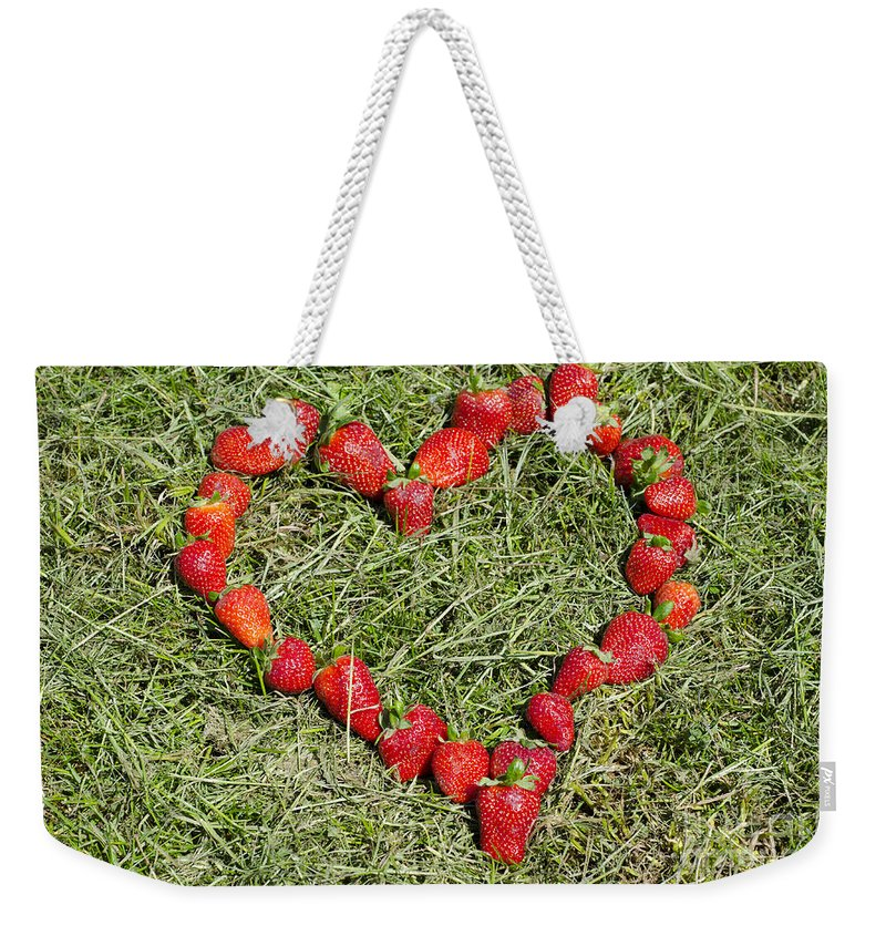 Heart Weekender Tote Bag featuring the photograph Strawberry Heart by Mats Silvan